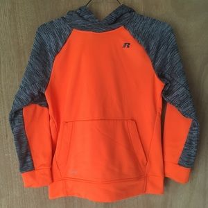 Boys size 14-16 orange and grey hoodie sweatshirt